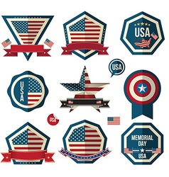 Badges set can use for greeting card memorial day vector
