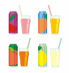 isolated juice cans and glasses vector image