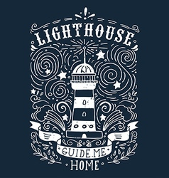 Hand drawn vintage label with a lighthouse and vector