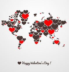 World map with hearts valentines day vector