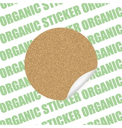 Organic cork natural sticker tag sale label vector