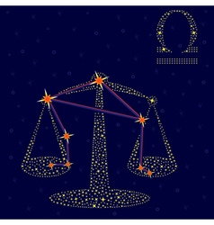 Zodiac sign libra over starry sky vector