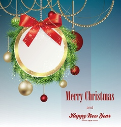 Christmas banner with frame from fir branches vector