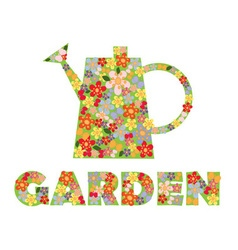 text flowers butterflies and watering can vector image