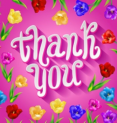 Thank you card in pink colors stylish floral vector