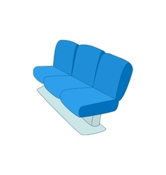 Blue airport seats icon cartoon style vector