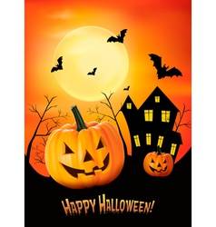 Halloween red background with pumpkins vector