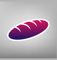Bread sign purple gradient icon on white vector