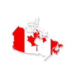 Canada flag map with shadow effect presentation vector