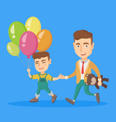 Caucasian father with son go to a birthday party vector