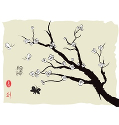 chinese painting of spring plum blossom vector image vector image