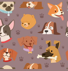 Dogs heads seamless pattern background vector