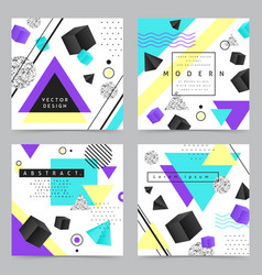 geometric shapes concept icons set vector image