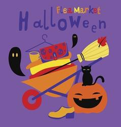 Halloween flea market print vector