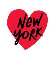 i love new york brush script lettering vector image vector image