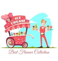 Ice cream vendor with cart best flavour vector
