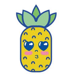 Kawaii cute tender pineapple fruit vector