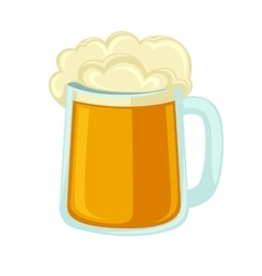 Lager beer glass with foam icon mug cold alcohol vector