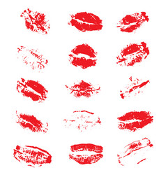 Lipstick kiss prints isolated on white background vector