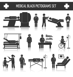 Medical black pictograms set vector