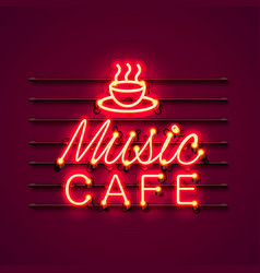 neon music cafe text icon signboard vector image vector image