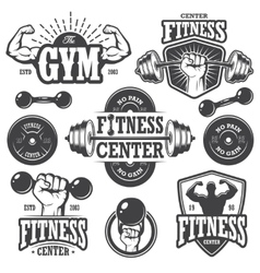 Second set of monochrome fitnes emblems vector