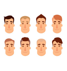 set of avatars male characters people faces man vector image vector image