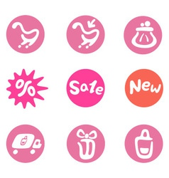Shopping and business icon set vector image vector image