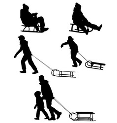 Sledding silhouettes vector