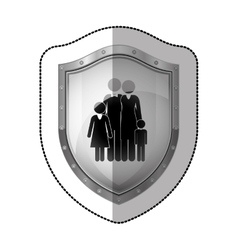 Sticler dotted metallic shield with black vector