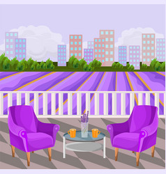 Violet two armchairs terrace view rural vector