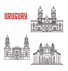 Uruguay architecture landmarks icons vector