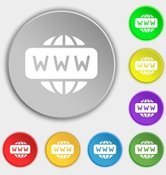 Www icon sign symbol on eight flat buttons vector