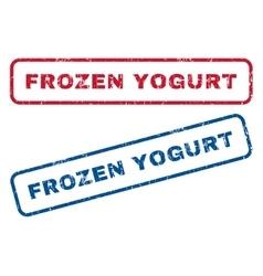 Frozen yogurt rubber stamps vector