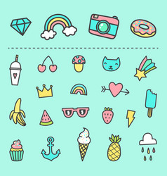 Set of cute cartoon stickers vector