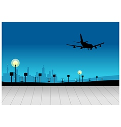 City skyline airplane flying vector