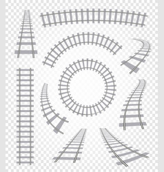 Isolated curvy and straight rails set railway top vector