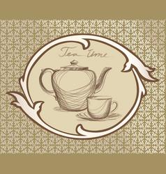 Tea cup pot kettle retro card tea time vintage vector