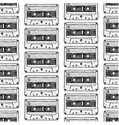 Pattern with audio cassette vector