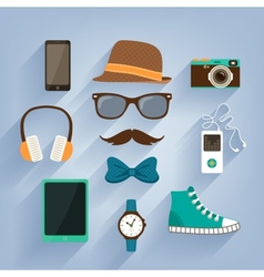 Hipster accessories items set vector