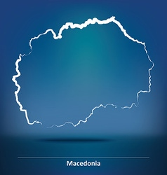 Doodle map of macedonia vector