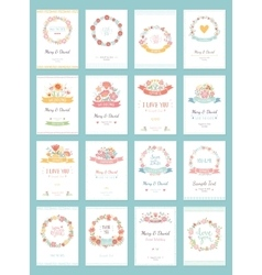 Romantic vintage cards collection vector