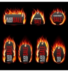 Fire labels set vector
