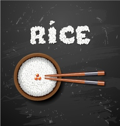 Bowl of white rice with chopsticks on blackboard vector