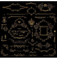 Calligraphic Royal Design Elements setGold Frames vector image