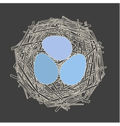 Straw nest with three eggs vector