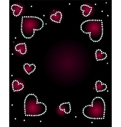 Abstract Background With Diamond Hearts vector image