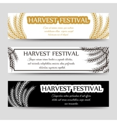Agriculture horizontal banner set with wheat vector image