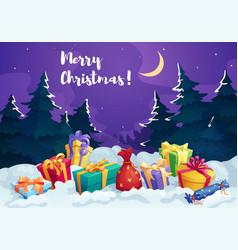 christmas present box and santa gift bag card vector image vector image
