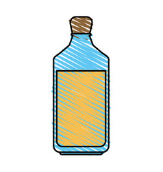 Color crayon stripe glass bottle with olive oil vector